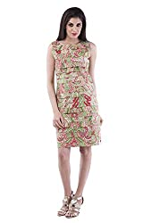 AARR green printed A-line knee length sleeveless boat neck cotton dress