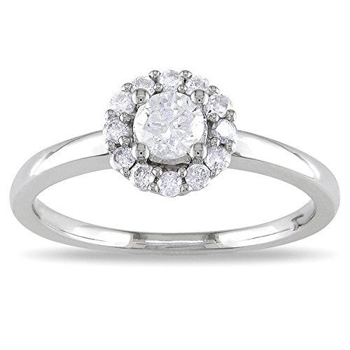 0.58 Carat Halo Affordable Diamond Engagement Ring with Round cut Diamond on 14K White gold