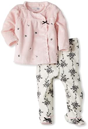 Vitamins Baby-girls Newborn 2 Piece Footed Pant Set Bows and Flowers, Pink, 3 Months