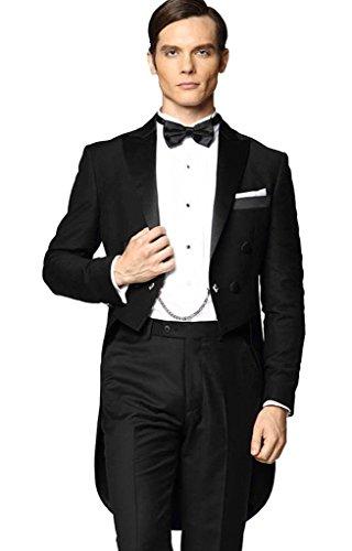 MYS da uomo personalizzata picco satinato con coda lunga-Coat Suit Pants Set Nero Black 44