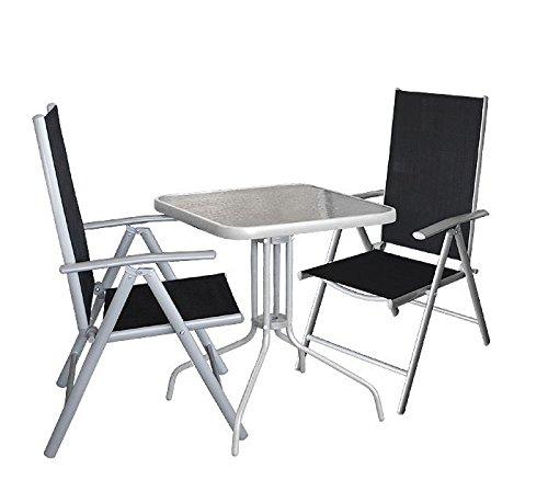 3tlg. Gartengarnitur Balkonmöbel Gartenmöbel Set Bistrotisch 60x60cm mit Tischglasplatte Glastisch Hochlehner Klappstuhl Rückenlehne 7-fach verstellbar Sitzgruppe günstig kaufen