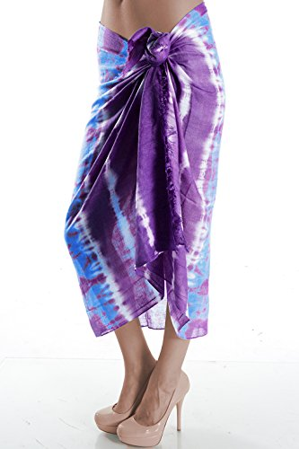 Basico Women Lady Hand Made Tie-dye Sheer Scarf Shawl Wrap with Fringe in Multi-colors (Purple) (Purple Tie Dye Scarves compare prices)