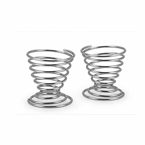 GOOTRADES Stainless Steel Spring Wire Tray Egg Cup Boiled Eggs Holder Stand Storage (pack of 4)
