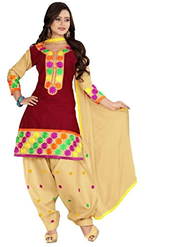 Vibes Women Cotton Salwar Suit Dress Material (V171-11 -Red -Free Size)