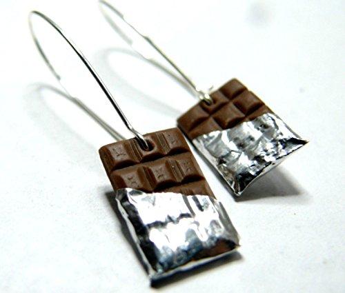 Bijoux-de-crateur-Boucle-doreille-Gourmande-Chocolat-Noir