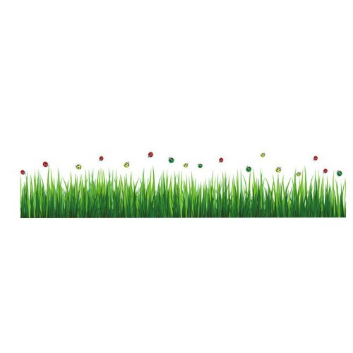 Createforlife Home Decoration Art Vinyl Mural Wall Sticker Decal Ladybug Green Grass Border Decal Paper