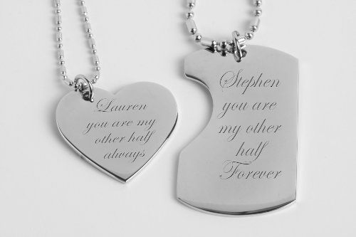 Personalized His & Hers Mini Dog Tag & Heart Necklace Set (Personalized Dog Tags For Couples compare prices)