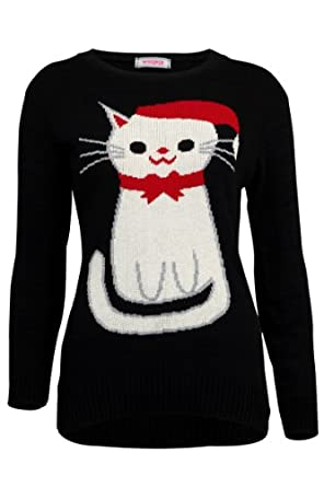 68N New Womens Black Cat Knitted Top Ladies Xmas Holiday Winter Jumper Size 8/10