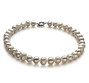 PearlsOnly White 10.0-10.5mm A Freshwater Cultured Pearl Necklace 16 inch