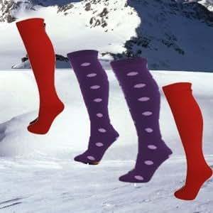 4 Pairs of Ski Tube Socks Size UK 4-11 - 2 x Red, Hoops & Sherbert
