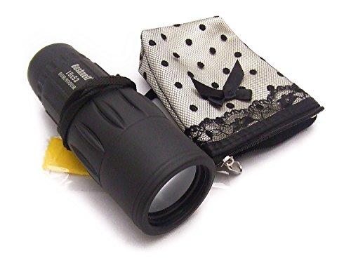 大口径 単眼鏡 16×52 口径 52 mm ( 内径 42mm ) 設定 倍率16倍 小物入れ付きセット (黒)