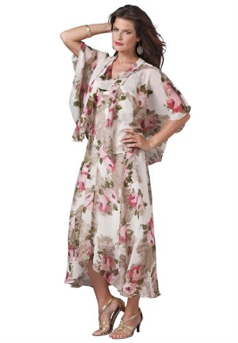Roamans Women's Plus Size Floral Jacket Dress