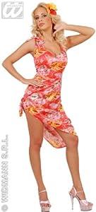 Ladies Hawaiian Dress Pink Costume Medium UK 10-12 for Tropical Lua Fancy Dress