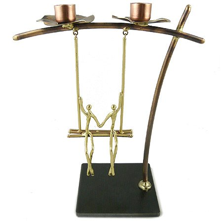 Lovers on a Swing Metal Candle Holder, Handcrafted in Brass