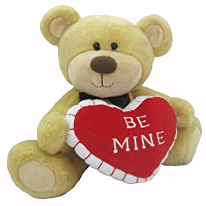 """First & Main Sitting Position Stuffed Brown Bear Valentine's Plush with Heart Pillow, 10"""""""