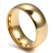 buy Mens Classical Tungsten Ring For Promise Engagement Plain Wedding Band Ring,Gold,8Mm Width,Size 7