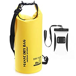Manve Waterproof Bag and Phone Dry Bag, Waterproof Guaranteed for Adventures - Floating, Boating, Kayaking, Hiking, Snowboarding, Camping, Rafting, Fishing, ultimate Lightweight; (capacity 10L)