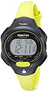 """Timex Women's T5K527 """"Ironman Traditional"""" Black and Bright Green Sport Watch"""