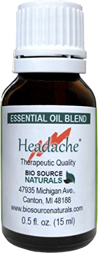 Headache Relief Essential Oil Blend Aromatherapy 15 Ml / 0.5 Oz with Oils of Peppermint, Lavender, Eucalyptus, Rosemary and Rosewood.