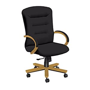 National Office Furniture Remedy High Back Executive Wood Office Chair, Honey Maple, Black Faux Leather