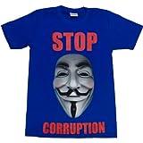 ジョークTシャツ STOP CORRUPTION ブルー (Mサイズ)