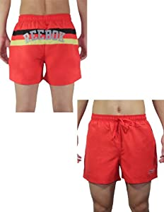 Reebok Mens High Performance Athletic Sports Shorts with Brief Lining L Red