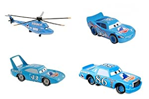 Hard to Find Disney Cars Dinoco Die Cast Race Team with Dinoco Helicopter, Dinoco Lightning McQueen, Dinoco Chick Hicks, and Dinoco The King Large 1:48 Die Cast Cars New in Package