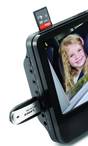 Lenco-DVP-939-2x-9-Zoll-DVD-Player-mit-Bildschirm-2x-Kopfhrer-USB-SDMMC-2x-Fernbedienung-2x-Kopfsttzenbefestigung-2x-Netzadapter-schwarz