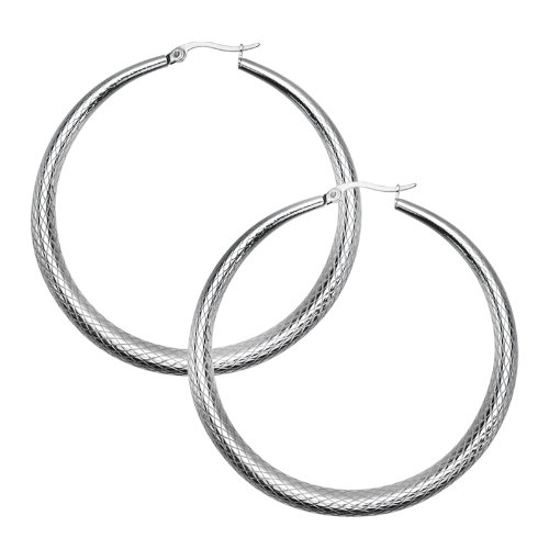 40mm- Inox Jewelry Stainless Steel Net Taper Hoop Earrings