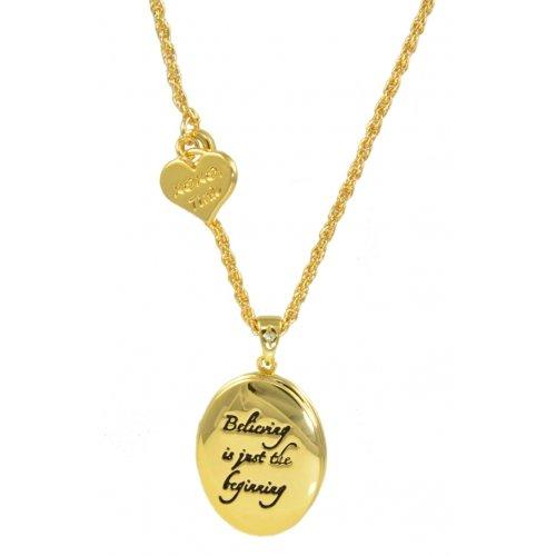 """Disney Couture-Collana placcata oro, motivo Campanellino Believing """"è solo l'inizio """"- Collana con medaglione"""