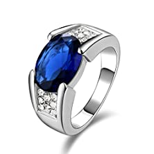 buy Suohuan Fashion Men'S 18K White Gold Plated Sapphire Blue Cubic Zirconia Jewelry Gift Anniversary Rings Size 10
