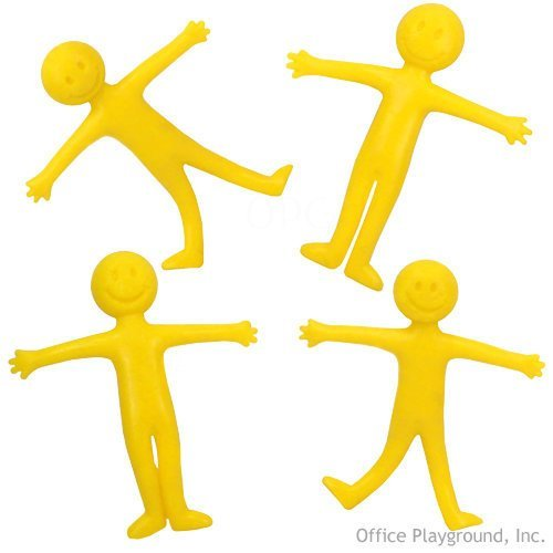 "US Toy Smiley Face Theme Stretchy Action Figures (1 Dozen), 2.25"", Yellow"