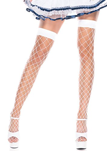 Costume Adventure Women's White Fence Net Thigh High Stockings
