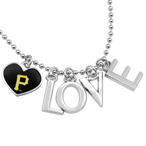 Pittsburgh Pirates Love Necklace with Heart Team Logo