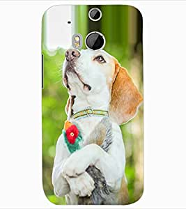 ColourCraft Cute Dog Design Back Case Cover for HTC ONE M8