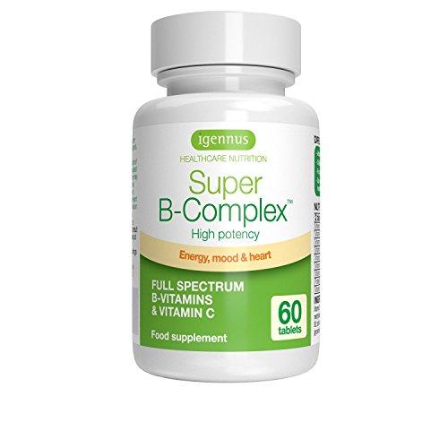 Super B-Complex - Compresse con complesso di vitamina B efficace, con 8 vitamine B altamente biodisponibili e vitamina C per l'energia, il supporto della funzione cerebrale e l'equilibrio dell'umore, 60 compresse