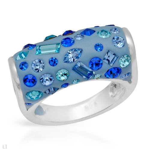 Ring With Genuine Crystals Made in Blue Enamel and 925 Sterling silver. Total item weight 7.7g (Size 6)