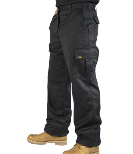 Mens Cargo Work Trousers Black or Navy Sizes 28 to 52 by SITE KING (34 Waist / 31