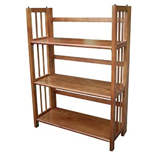 Casual Home 3 Shelf Folding Stackable Bookcase, Honey Oak