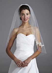 Mid Length Veil Embellished with Scattered Lace