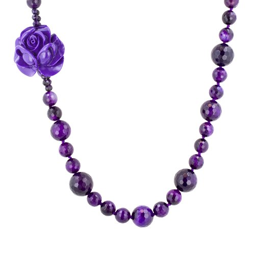 Multi-Size Faceted Purple Agate Bead Endless Necklace, 62