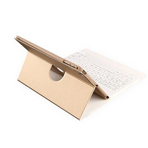 Luxebell® ipad mini 4用ケース ワイヤレスブルートゥース分離式キーボードケース Bluetooth3.0搭載 高品質PUレザー保護ケース スタンド機能付きケース (ゴールデン)