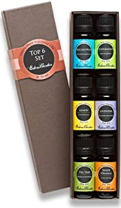 Top 6 100% Pure Therapeutic Grade Basic Aromatherapy Sampler Essential Oil Gift Set- 6/10 ml (Eucalyptus, Lavender, Lemon, Sweet Orange, Peppermint, Tea Tree)