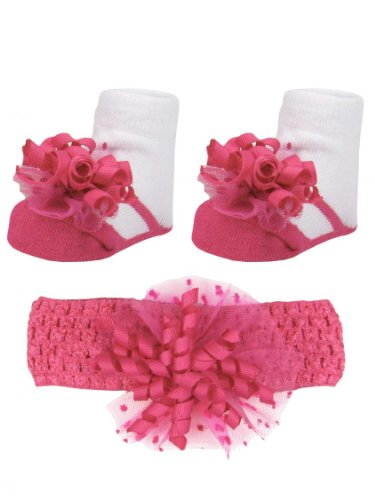 Baby Girls Hot Pink Dot Headband & Mary Jane Bootie Socks Set By Vitamins Baby - Hot Pink - 0-12 Mths front-1057110