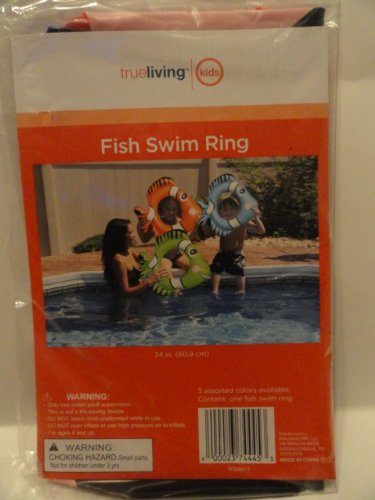 Inflatable Fish Swim Ring - Blue - 1
