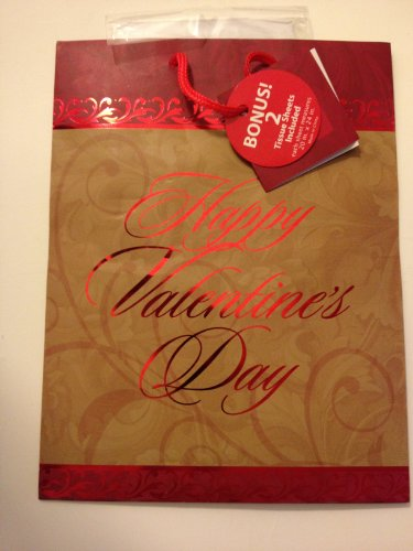 Valentines Day Gift Bag, foil lettering, with 2 Tissue Sheets Included (Approximately 10