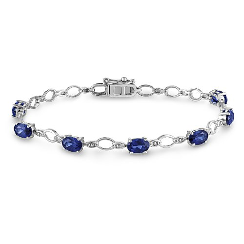 Sterling Silver Created Blue Sapphire and Diamond Bracelet (.02 Cttw, G-H Color, I2-I3 Clarity), 7