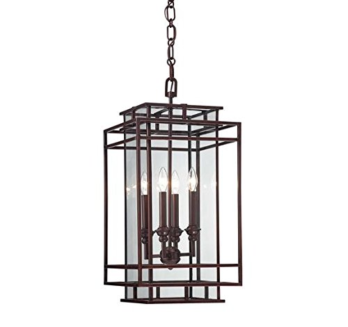 Savoy House 3-8203-4-121 Pendant with Clear Panel Shades, Mohican Bronze Finish