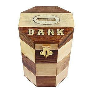 Safe money box savings banks wooden piggy bank handmade in for Handmade coin bank
