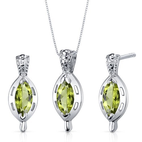 Peora Simply Stunning 1.50 carats Marquise Cut Sterling Silver with Rhodium Finish Peridot Pendant Earrings Set